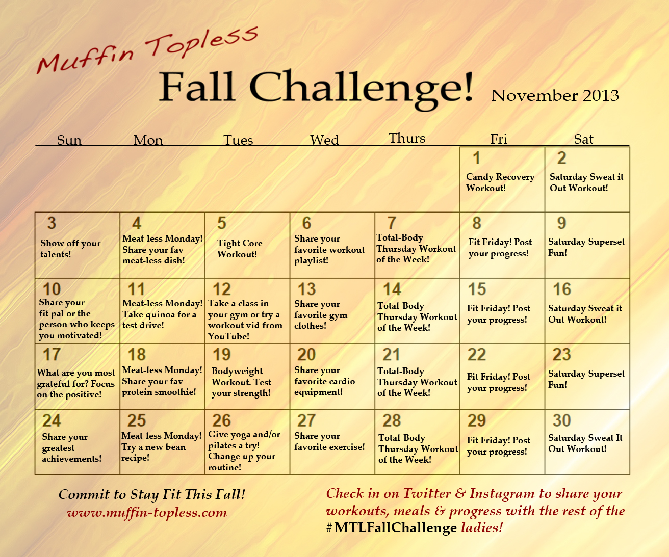 Calendar Challenge : November fall challenge workouts calendar muffin topless